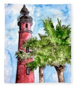 Ponce De Leon Inlet Florida Lighthouse Art Fleece Blanket