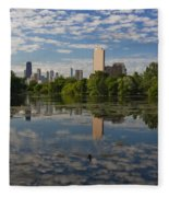 Pond And The Chicago Skyline Fleece Blanket