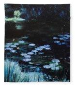Pond At Port Meirion Fleece Blanket
