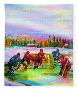 Pond Hockey Blue Skies Fleece Blanket