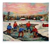 Pond Hockey Countryscene Fleece Blanket