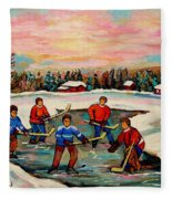 Pond Hockey Countryscene Fleece Blanket
