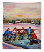 Pond Hockey Warm Day Fleece Blanket