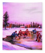 Pond Hockey Warm Skies Fleece Blanket