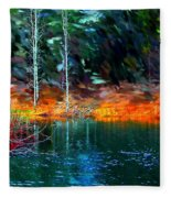 Pond In The Woods Fleece Blanket