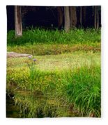 Pond Landscape Print Fleece Blanket