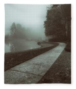 Pond Walk In Black And White Fleece Blanket
