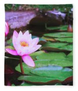 Pond With Water Lilly Flowers Fleece Blanket