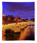 Pont Neuf At Night Fleece Blanket