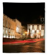 Ponta Delgada At Night Fleece Blanket