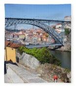 Ponte Luiz I Between Porto And Gaia In Portugal Fleece Blanket