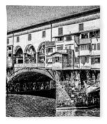 Ponte Vecchio Florence Sketch Fleece Blanket