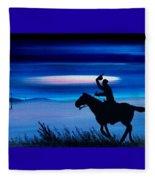 Pony Express Rider Blue Fleece Blanket