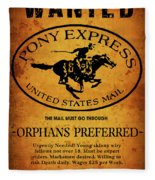 Pony Express Wanted Poster Fleece Blanket