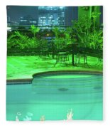 Pool With City Lights Fleece Blanket