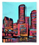 Pop Art Boston Skyline Fleece Blanket