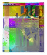Pop-art Colorized One Hundred Euro Bill Fleece Blanket