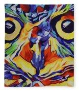 Pop Art Owl Face-1 Fleece Blanket