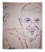 Pope Francis Waves Fleece Blanket