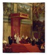Pope Pius Vii Luigi Barnaba Chiaramonti Attending Chapel 1820 Fleece Blanket