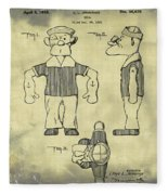 Popeye Doll Patent 1932 In Weathered Fleece Blanket