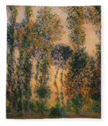 Poplars At Giverny - Sunrise Fleece Blanket