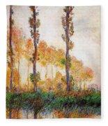 Poplars, Autumn Fleece Blanket