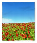 Poppies And A Photographer Fleece Blanket