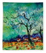 Poppies And Appletrees In Blossom Fleece Blanket