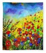 Poppies And Blue Bells Fleece Blanket