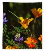 Poppies And Bluebells Fleece Blanket