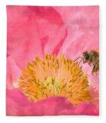 Poppies And Bumble Bee Fleece Blanket
