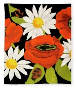 Poppies And Camomiles, Oil Painting Fleece Blanket