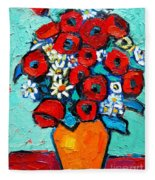 Poppies And Daisies Bouquet Fleece Blanket