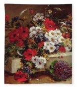 Poppies And Daisies  Fleece Blanket