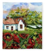 Poppies And Laundry Fleece Blanket
