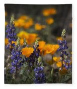 Poppies And Lupines  Fleece Blanket