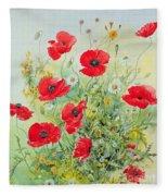 Poppies And Mayweed Fleece Blanket