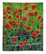 Poppies And Traverses 1 Fleece Blanket