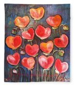 Poppies Are Hearts Of Love We Can Give Away Fleece Blanket