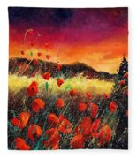 Poppies At Sunset 67 Fleece Blanket