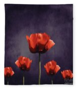 Poppies Fun 01b Fleece Blanket