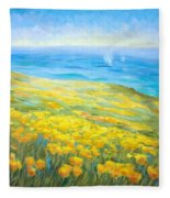 Poppies Greeting Whales Fleece Blanket
