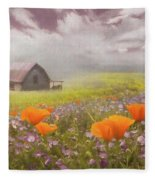 Poppies In A Dream Watercolor Painting Fleece Blanket
