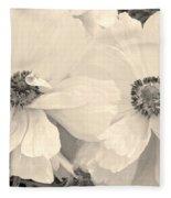 Poppies In Monochrome Fleece Blanket