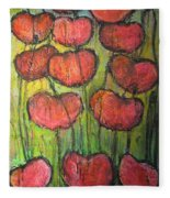 Poppies In Oil Fleece Blanket
