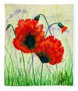 Poppies In The Wild Fleece Blanket