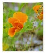Poppies In The Wind Fleece Blanket