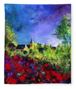 Poppies In Villers Fleece Blanket