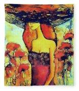 Poppies Lady Fleece Blanket